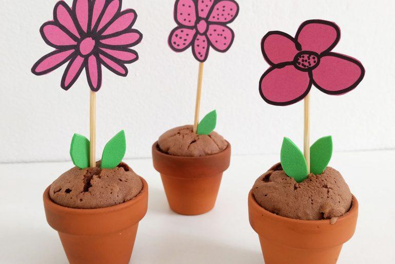Gezonde traktatie: brownie bloempotjes - Beter door Eten