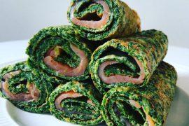 Omeletwrap met spinazie en zalm - Beter door Eten